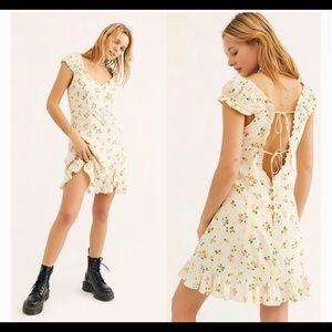 Free People Like A Lady Printed Mini Dress Citrus